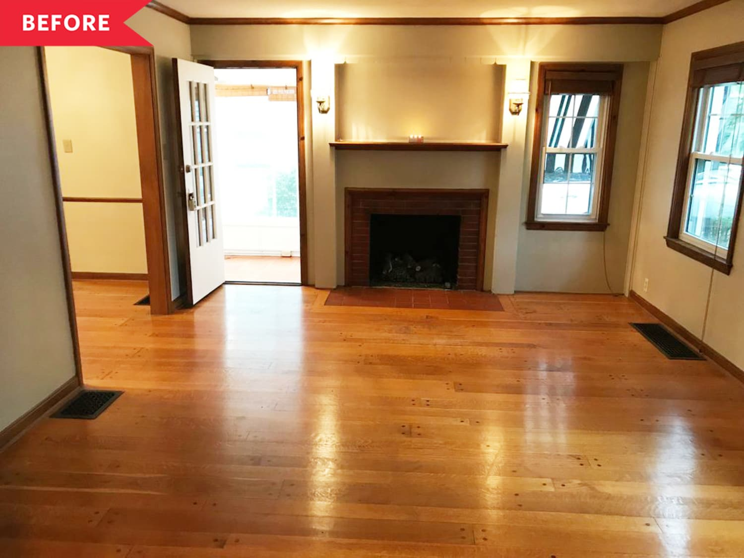 Before and After: This Dark, Dim Living Room Fireplace Goes Light and Bright