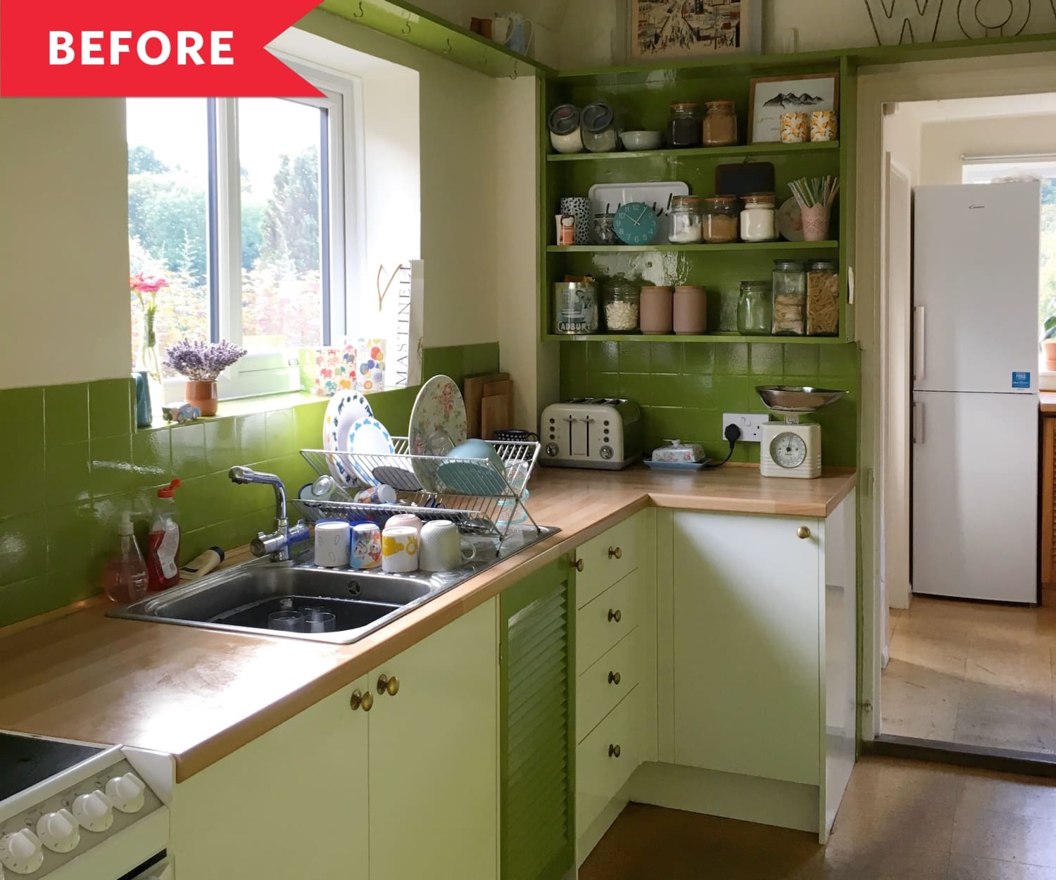 Before and After: A Bright Budget Redo for this Lime Green Kitchen