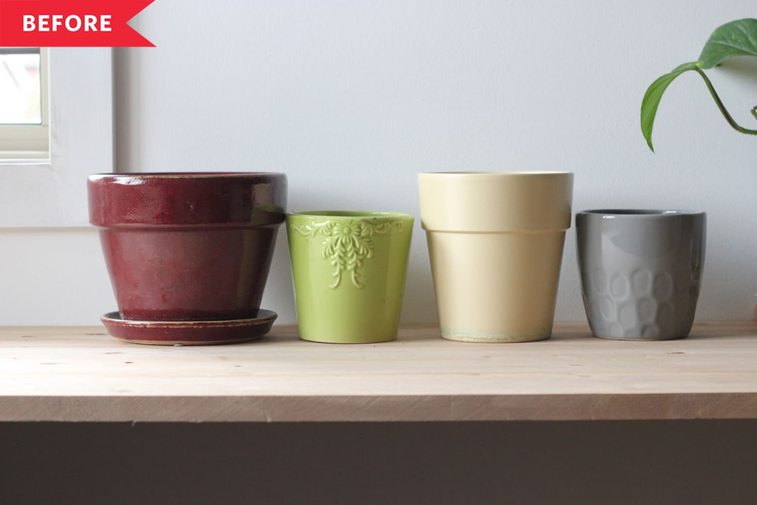 Before and After: A Genius Hack for Making Thrifted Planters Look Way More Expensive