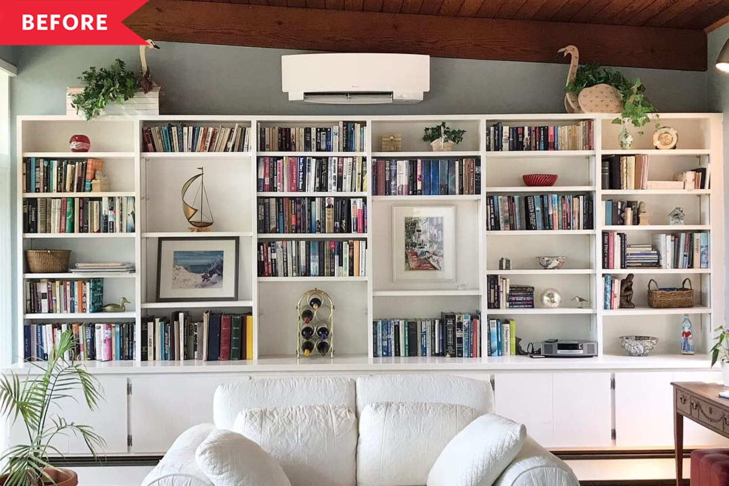 Before and After: A Bold Living Room Bookshelf Transformation for Less than $100
