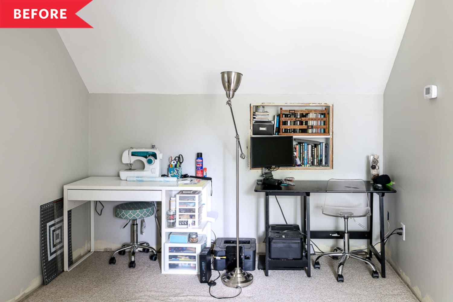 Before and After: This Charming DIY Home Office Goes Fabulously Un-Gray