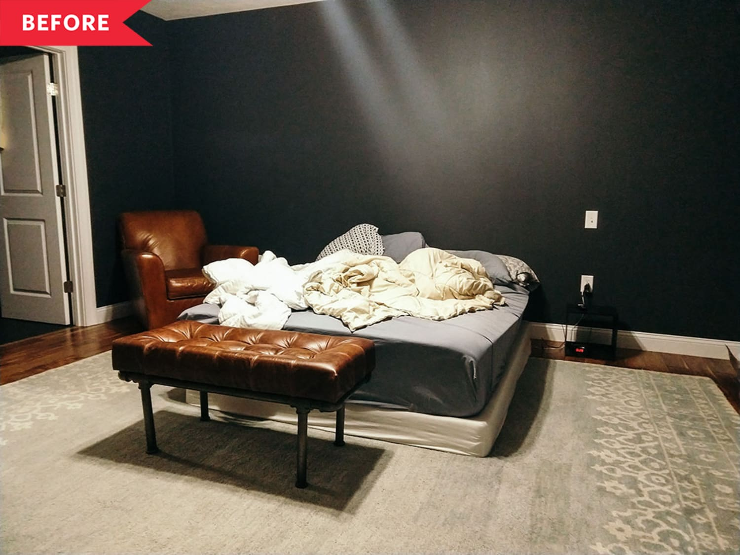 Before and After: A Dark, Dramatic, and Totally DIY Master Bedroom