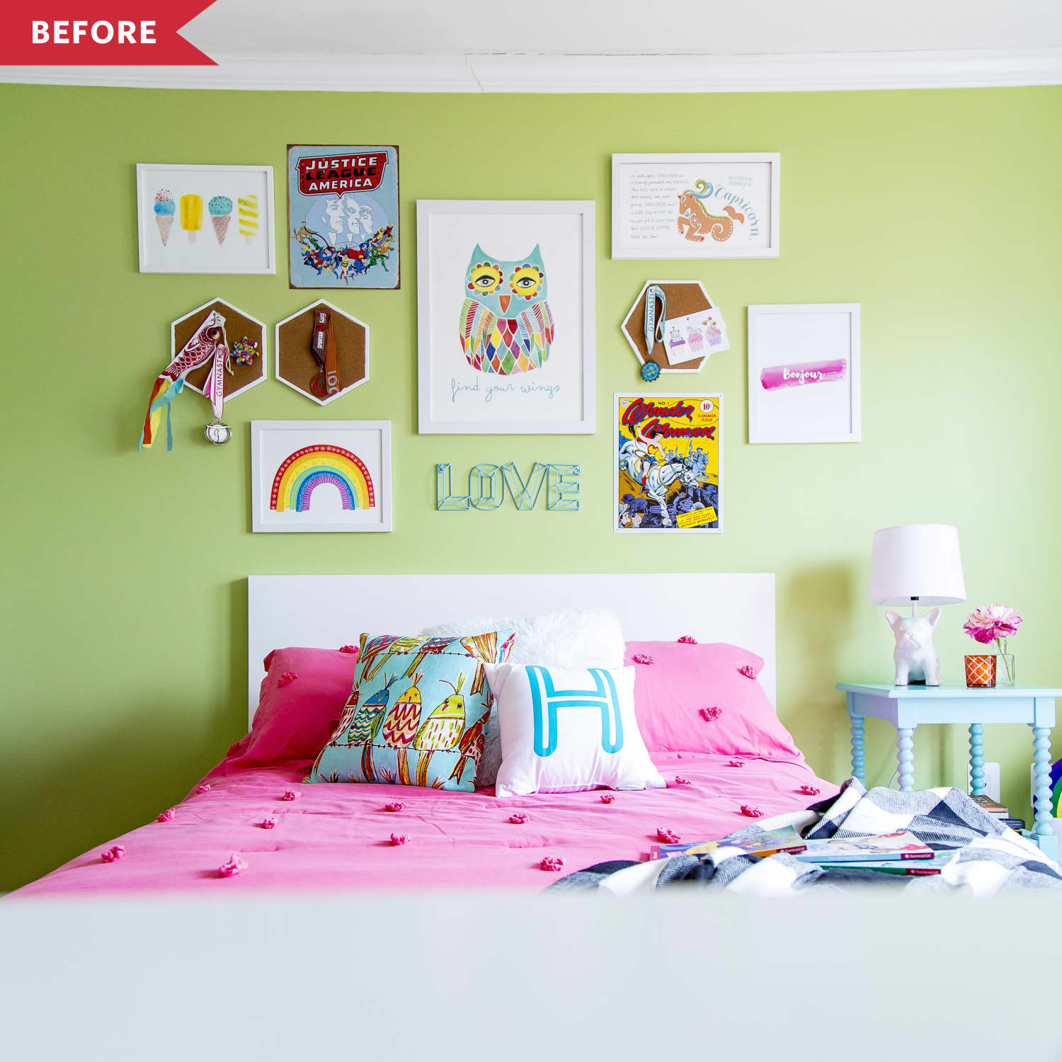 Before and After: A $74 Accent Wall Transforms This Once-Green Bedroom