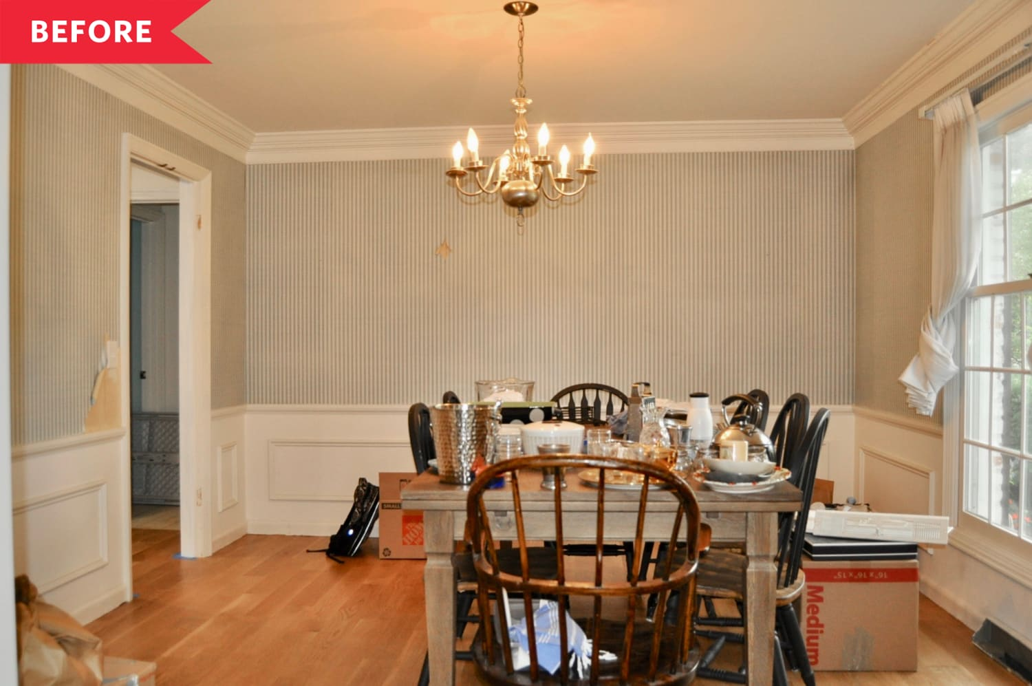 """Before & After: This Dining Room Now Has Major """"Hang Out Here"""" Vibes"""