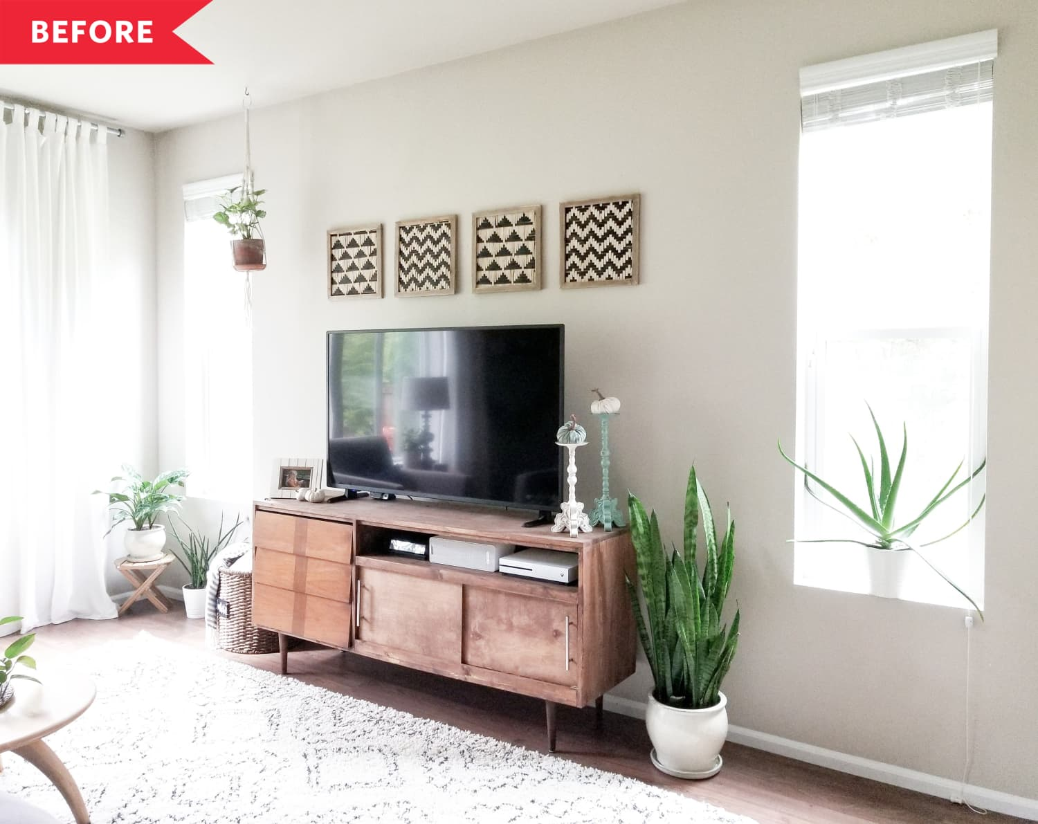 Before and After: A $150, 3-Day Project Gives a Plain Living Room Some Wow