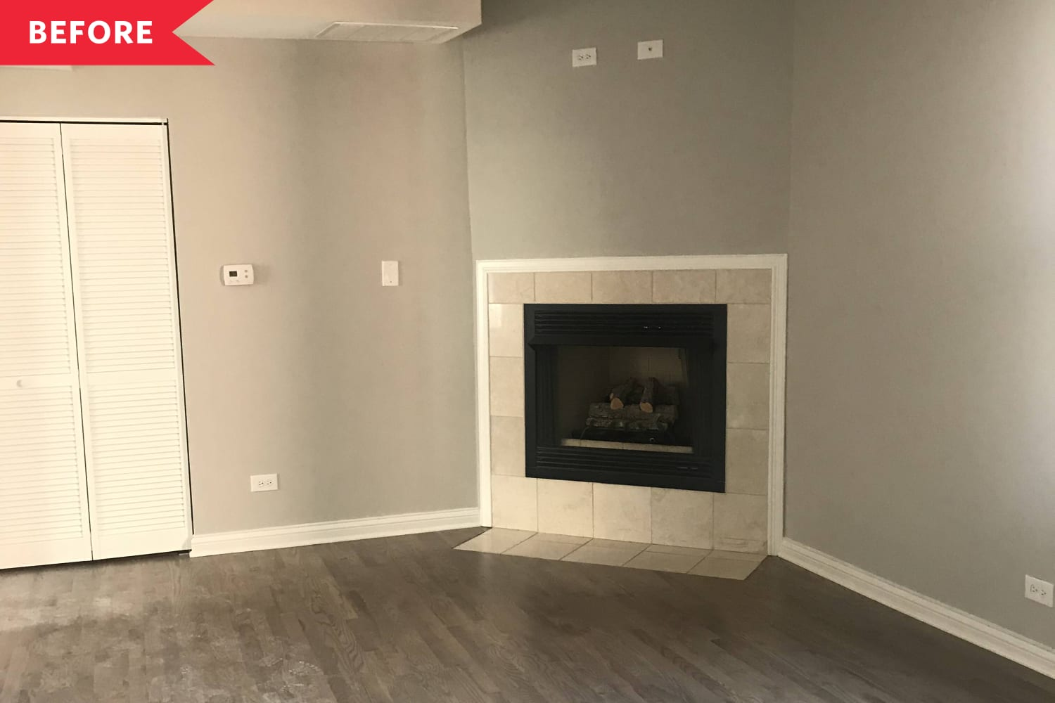 Before & After: A Boring, Bland Rental Apartment's $20 (and Temporary!) Fireplace Fix