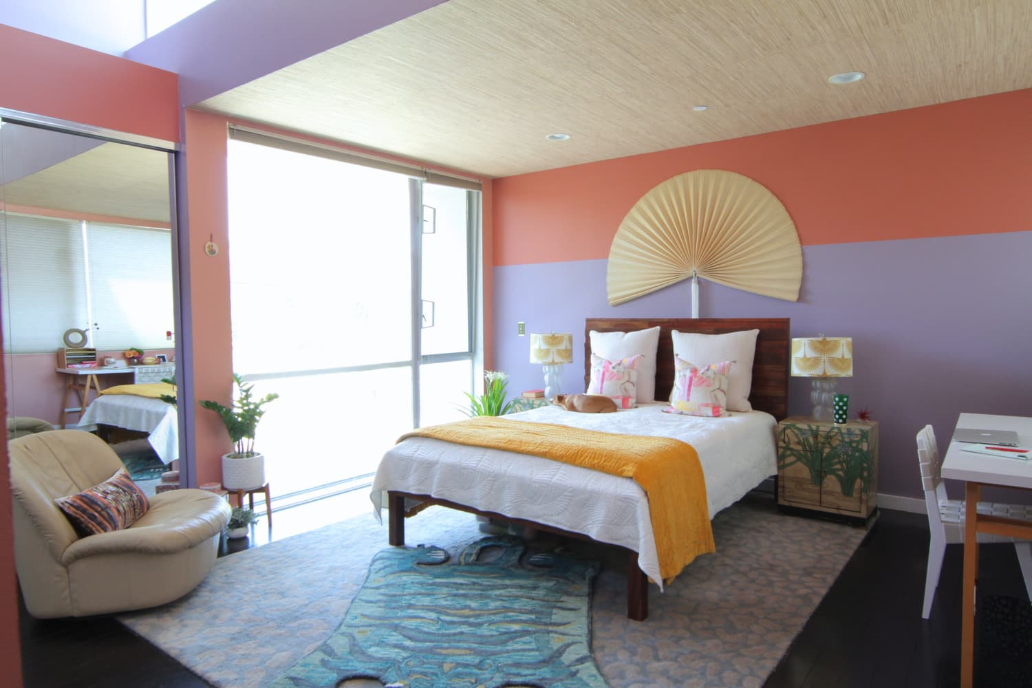 This Colorful Bedroom Has the Most Stylish Solution for Mirrored Closet Doors