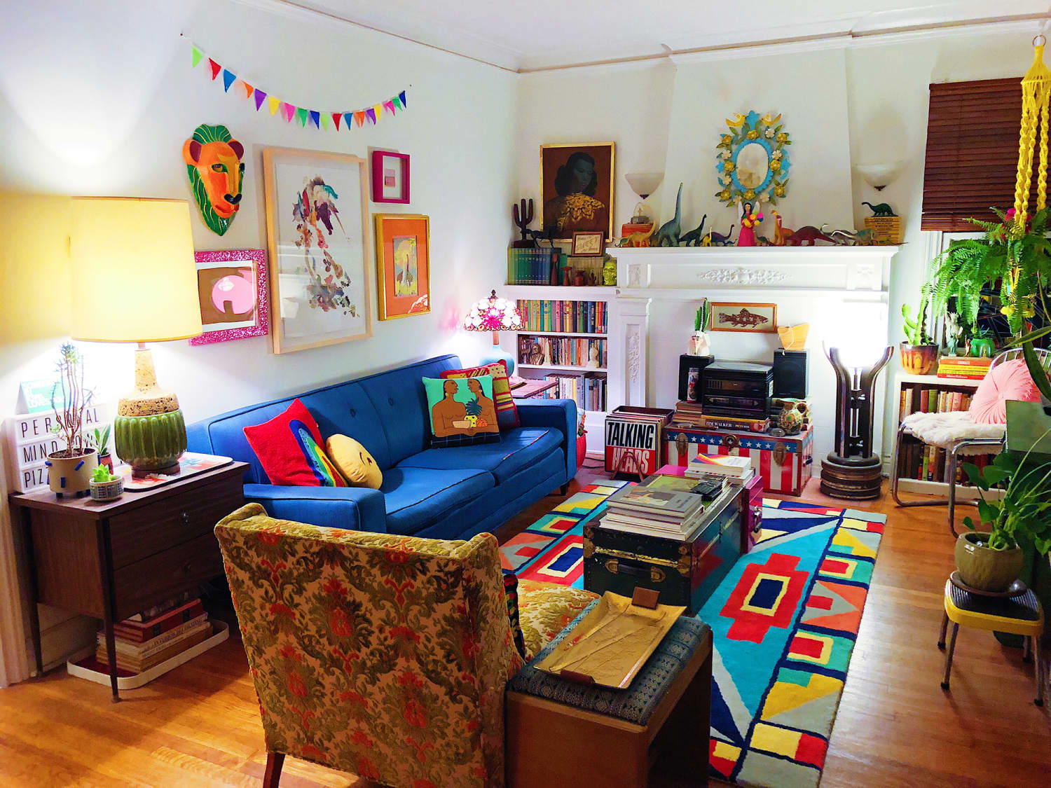 This Rainbow Rental Has Weird '70s Lamps, Plastic Dinosaurs, and More Patterns Than You Can Count