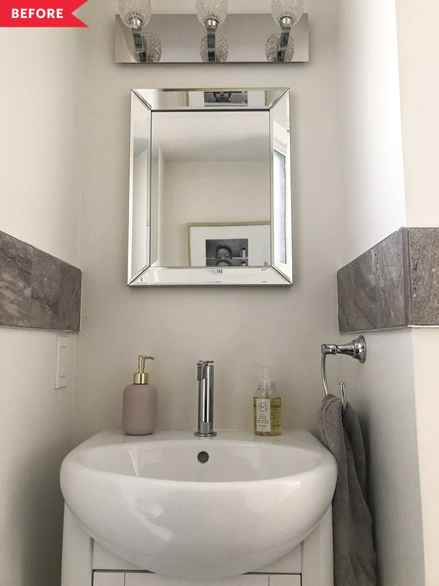 Before & After: This Dated Powder Room Makeover Is Fantastic and Full of Ideas for Renters
