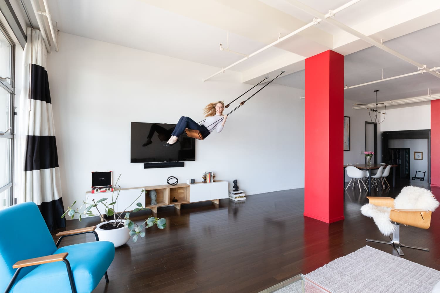 Actress Riki Lindhome's LA Loft Has Style, Stripes, and a Swing!