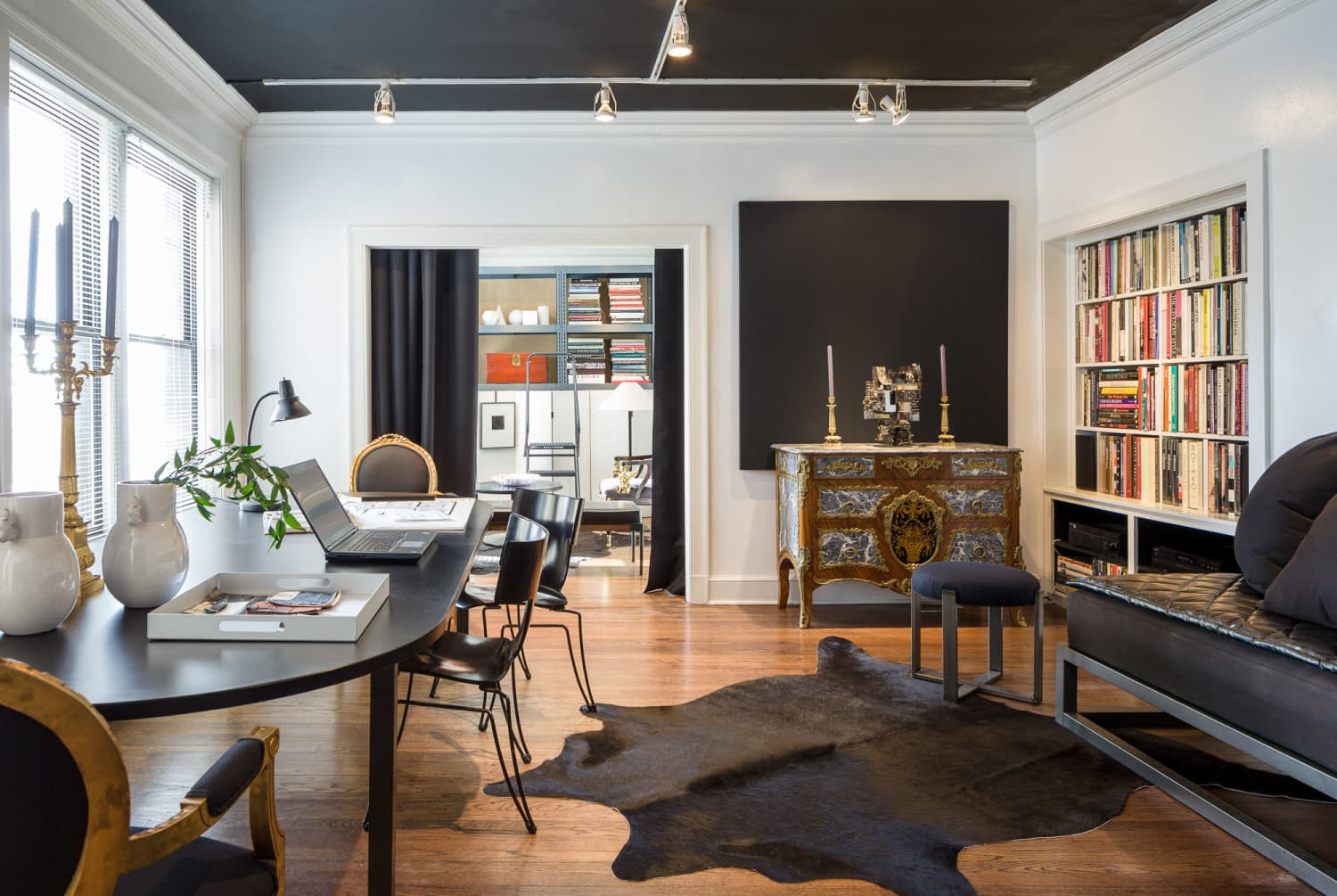 A Chicago Condo Makes Industrial Metal Carts, Tool Chests, and Acoustical Blankets Look Expensive and Luxe