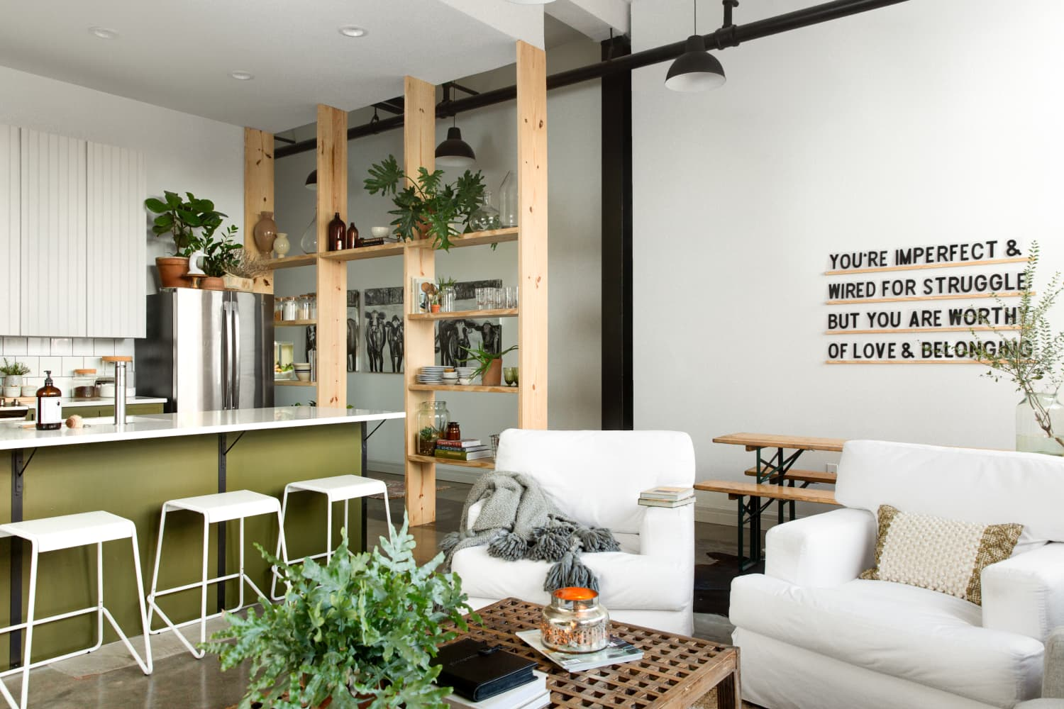 This Rental Apartment's Shelf Wall Is Simple But Stunning