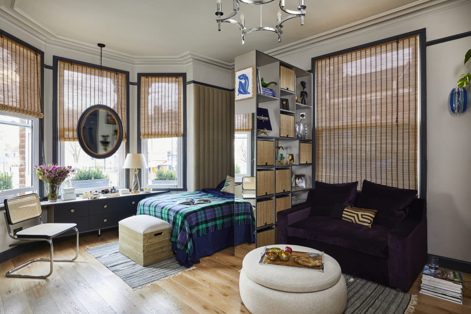 A Small London Studio Shows How to Create Stylish, Functional Sections in a One-Room Home