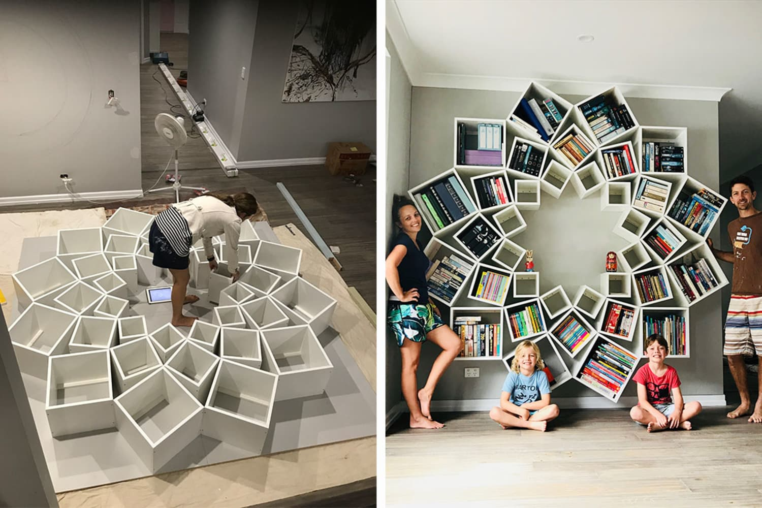 This Couple Built an Intricate Bookshelf Out of 36 Boxes, Proving Any DIY Project Is Possible