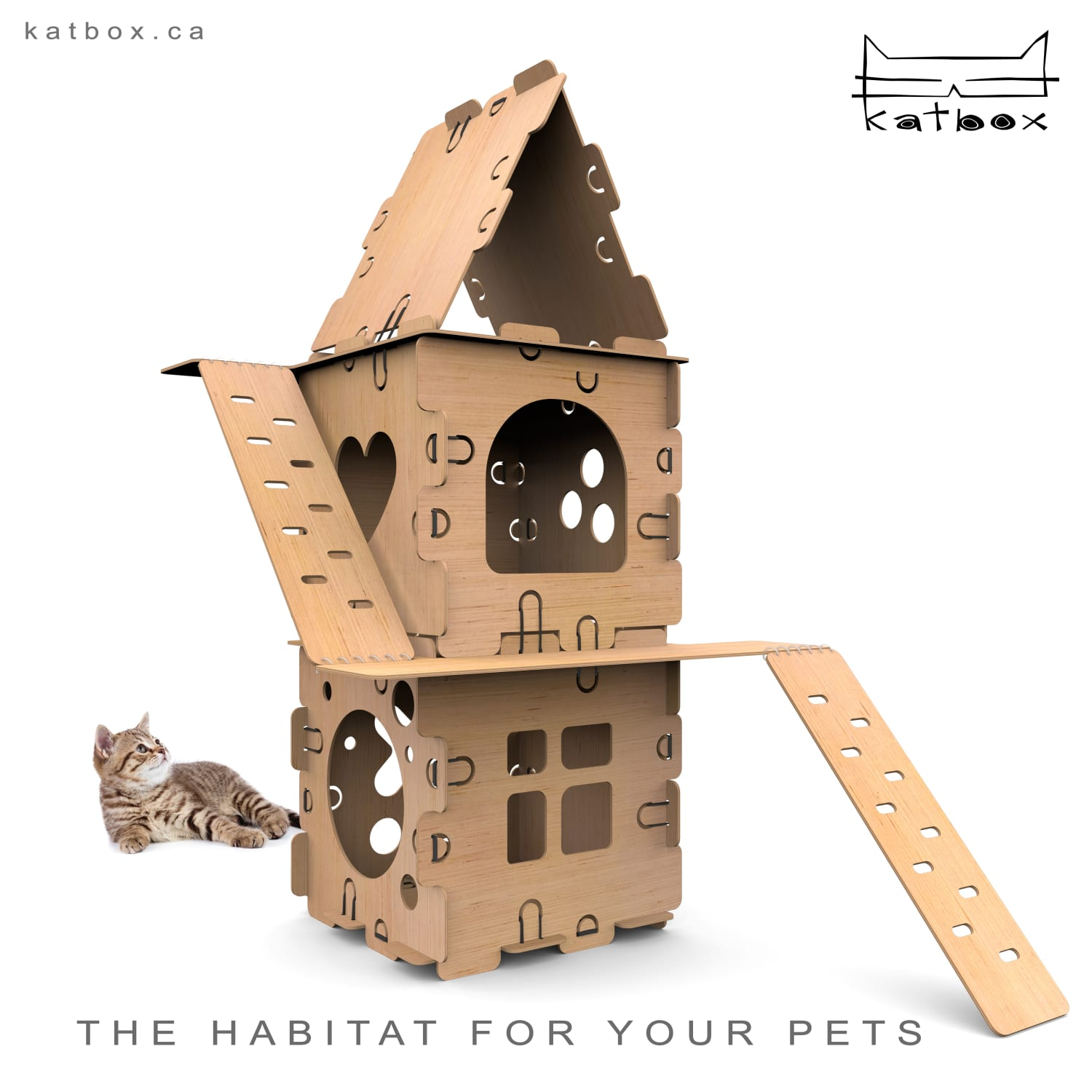 This Modular Cat House Kit Is the Upgraded Cardboard Box Your Pet Has Always Wanted