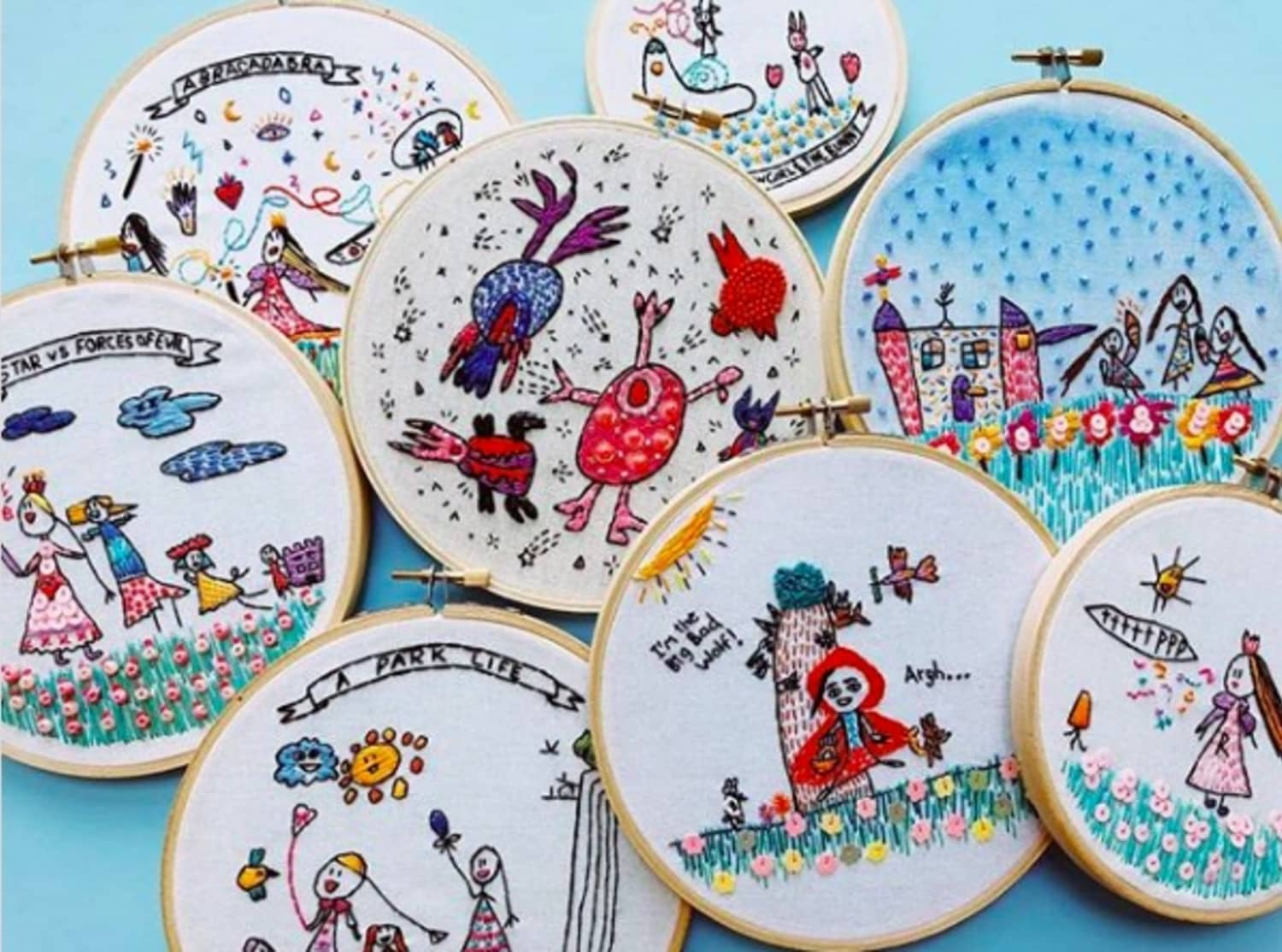 This Mom Translates Her Daughter's Drawings into Embroidery