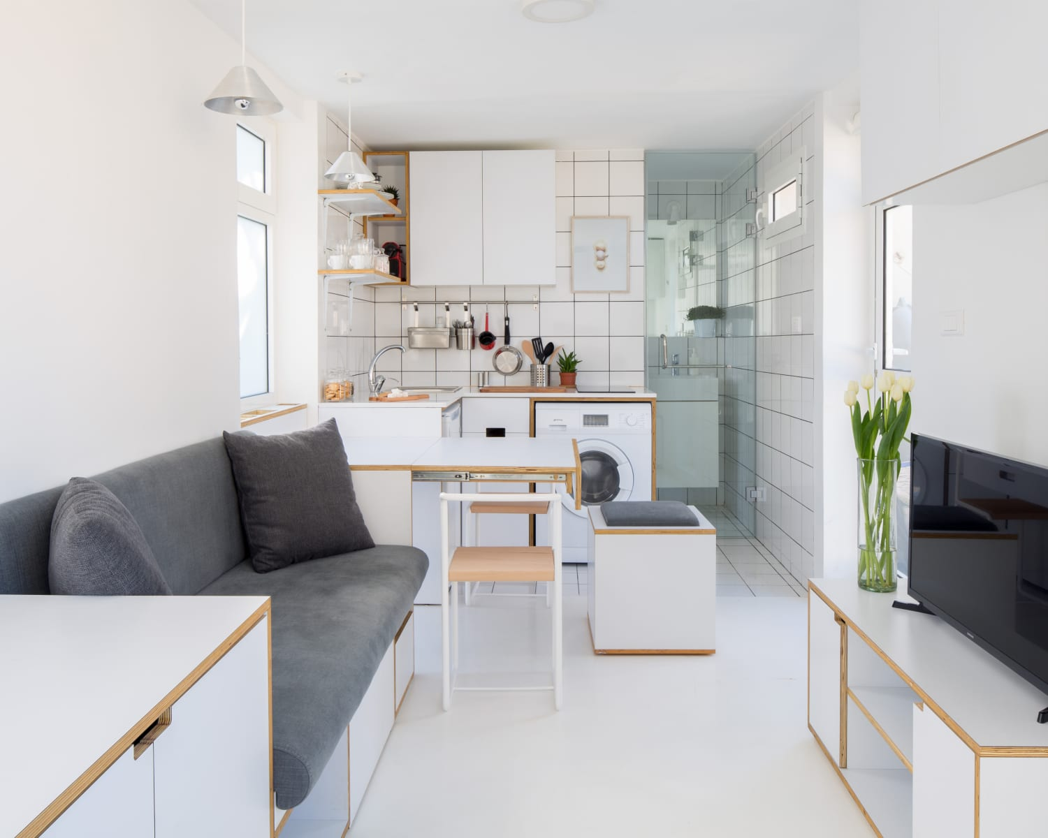 """This 172-Square-Foot """"Shoebox"""" Micro Apartment Makes Small Space Living Feel Spacious"""