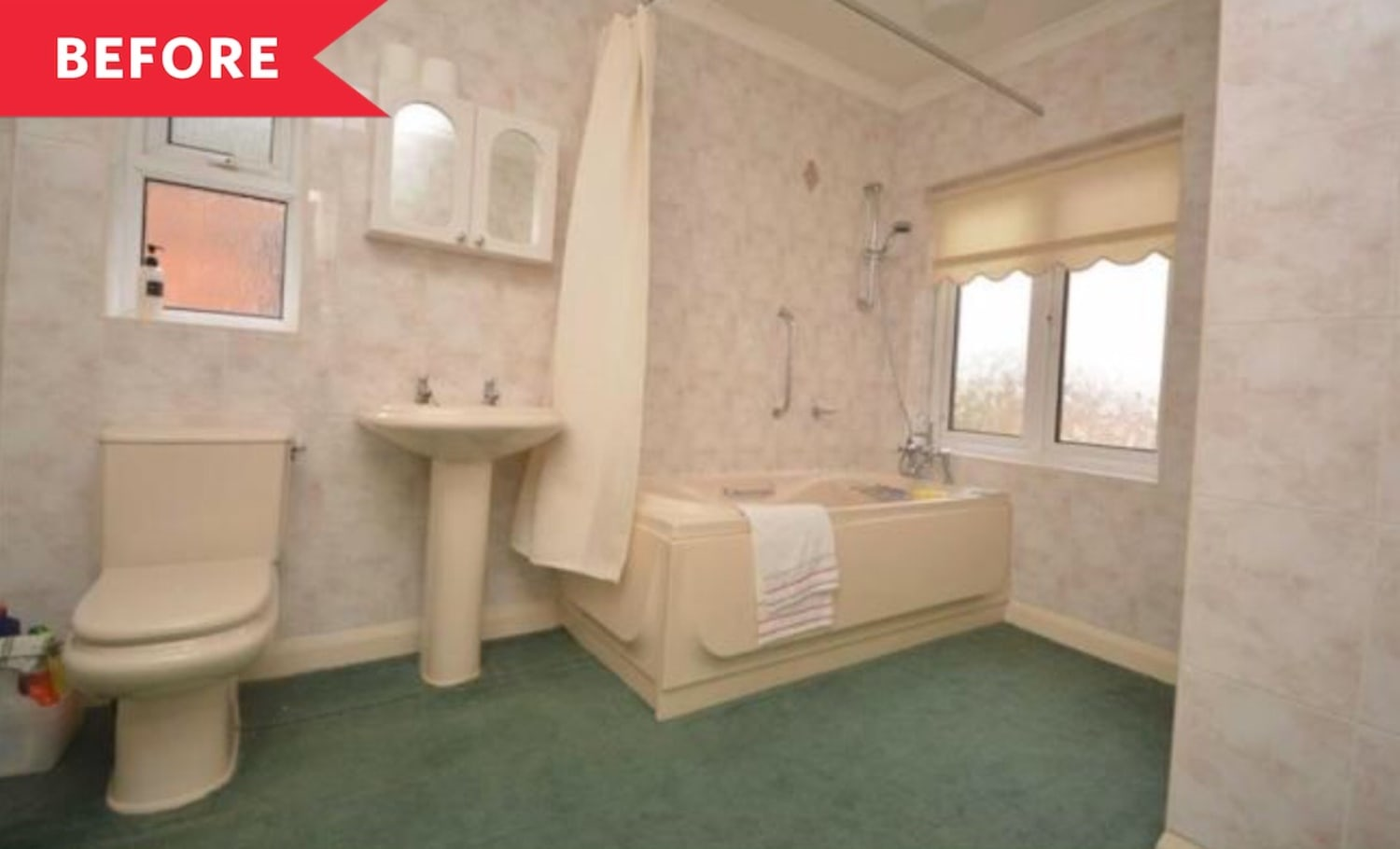 Before and After: A Carpeted (!!) Bathroom Gets a Pretty Pink Makeover