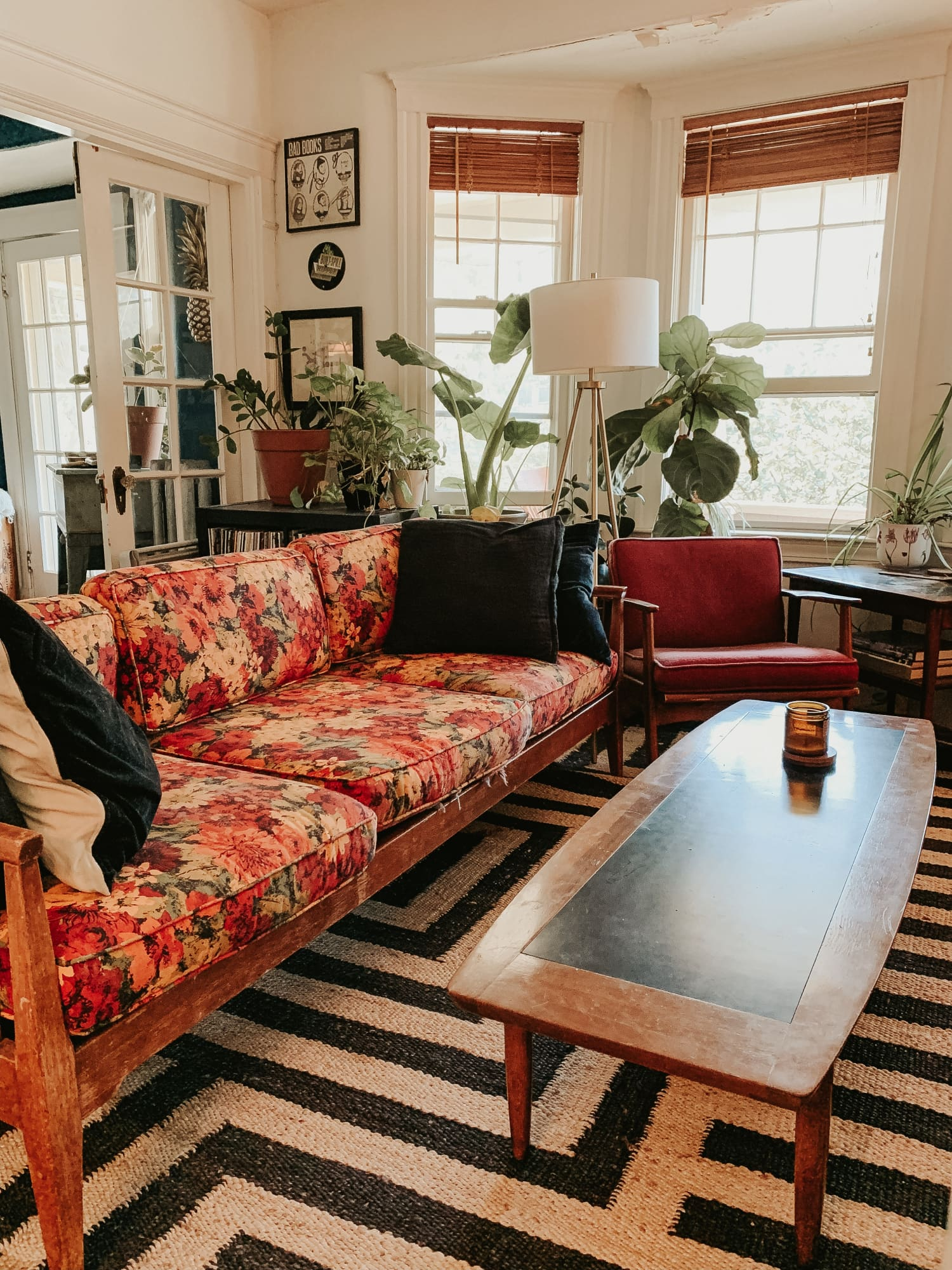 This Apartment Has a Bold Red Kitchen and a Fabulous Floral Sofa Passed Down for Generations