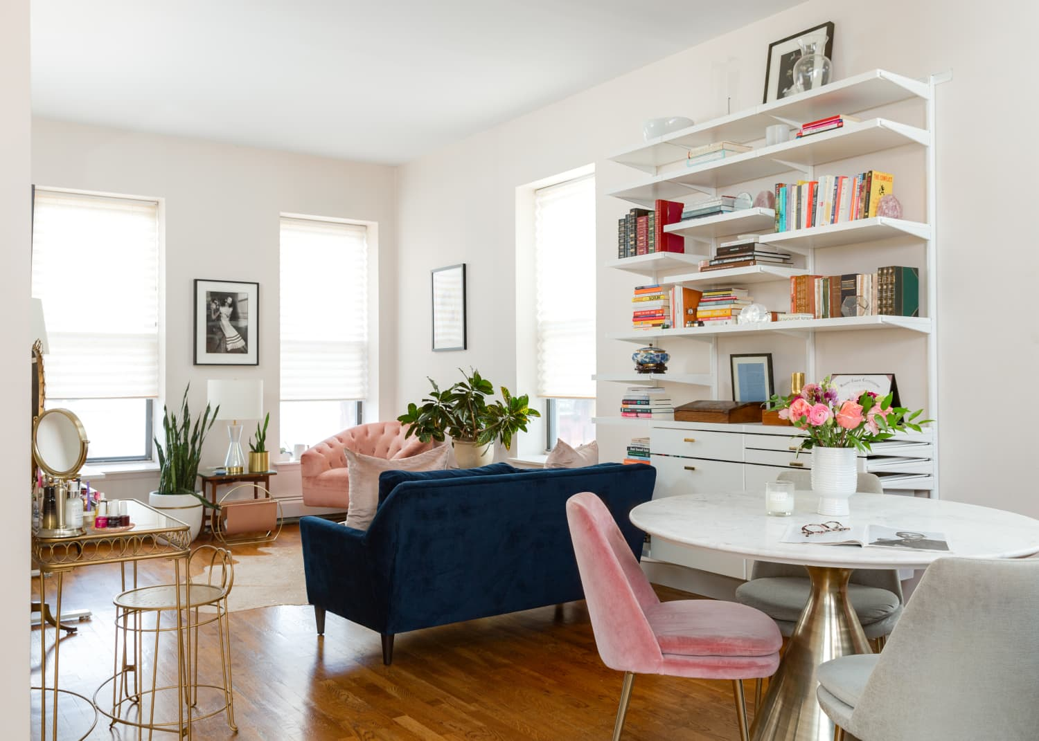 This Life Coach's Small and Serene NYC Apartment Boasts Modern Furniture, Family Antiques, and Art by Women Artists