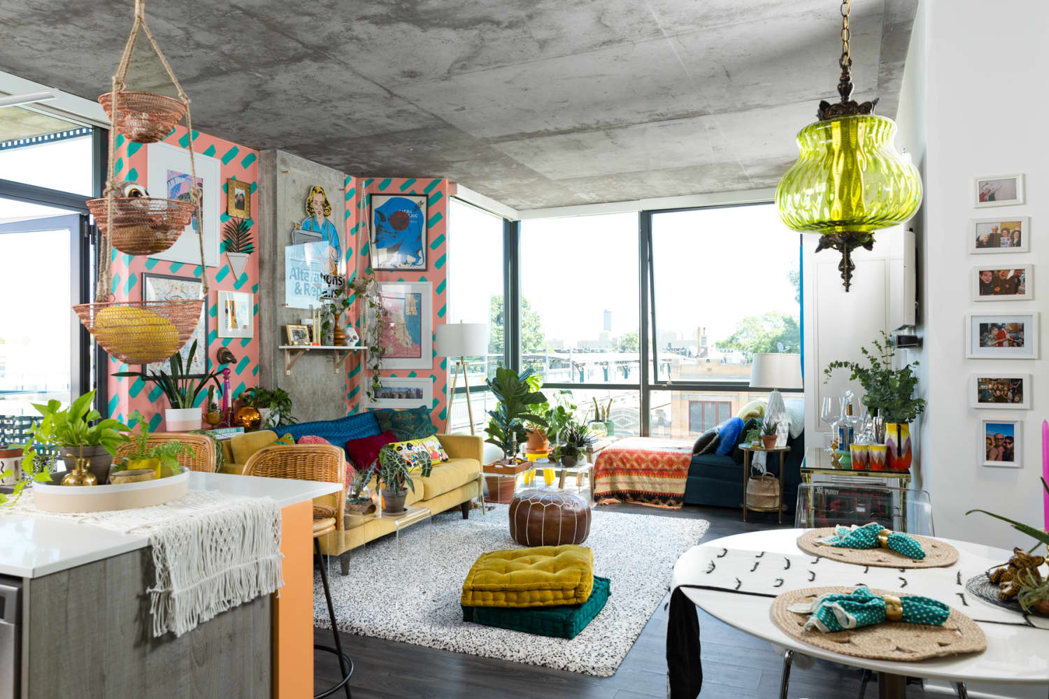 A Colorful, Maximalist Chicago Loft Has Maybe the Best DIY Patterned Paint Job