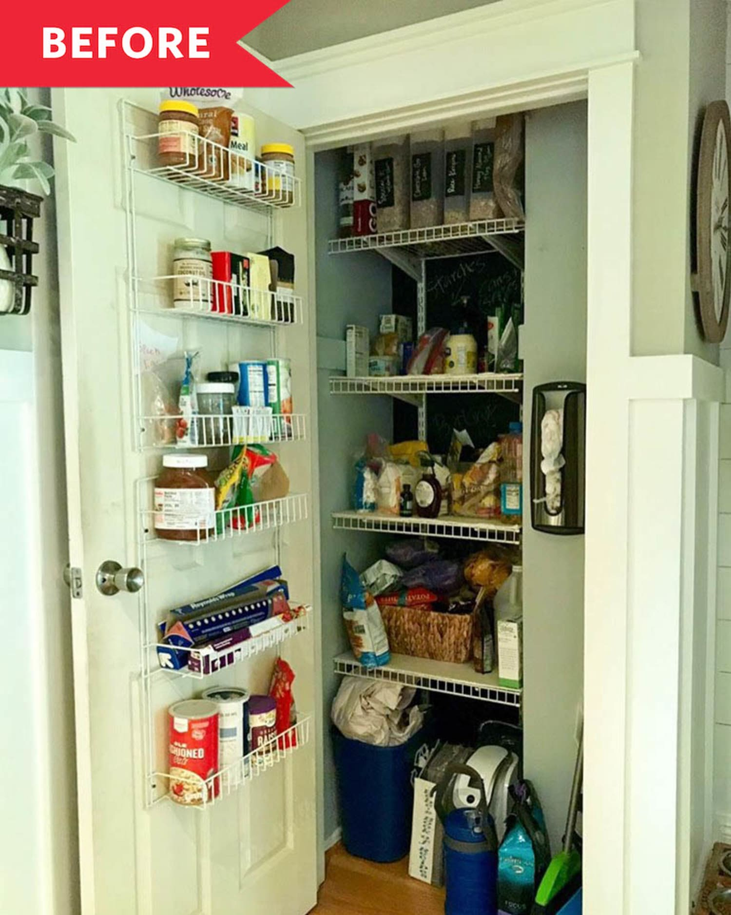 Before and After: How Painting the Door Sparked a Small Pantry's Organizational Overhaul