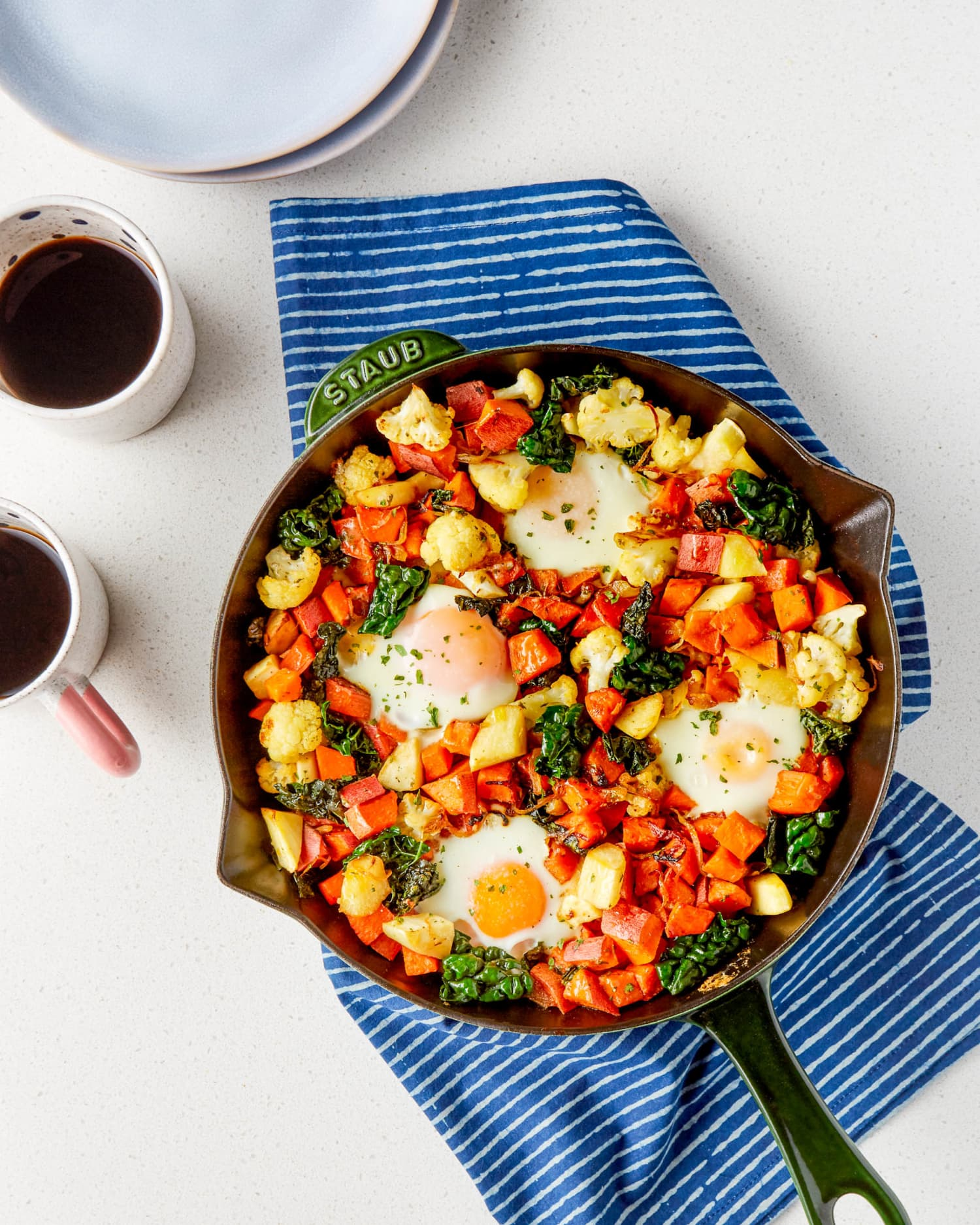 Ranch Sweet Potato Skillet with Baked Eggs Is Hearty, Healthy, and Filling