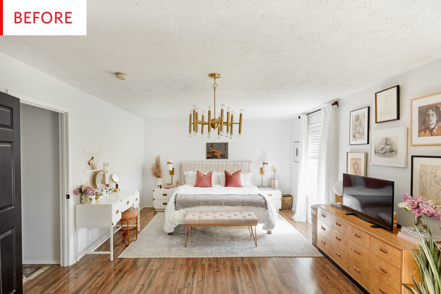 Before & After: This Bedroom Is the Perfect Argument for Painting Your Ceiling Pink