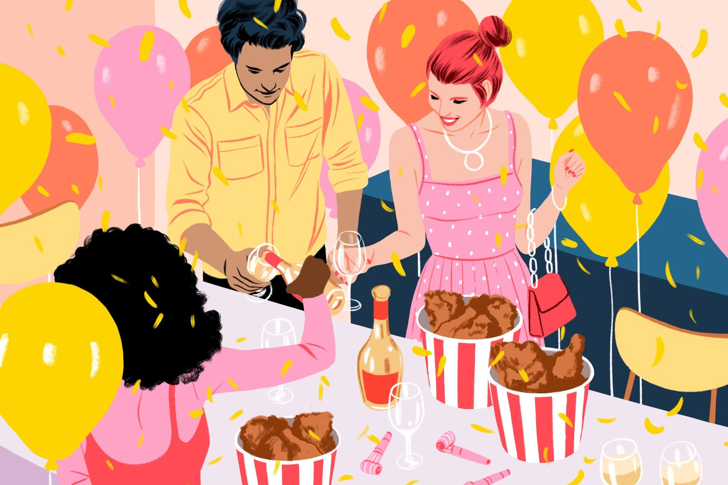 Why Takeout Fried Chicken and Sparkling Wine Is the Ultimate New Year's Eve Dinner