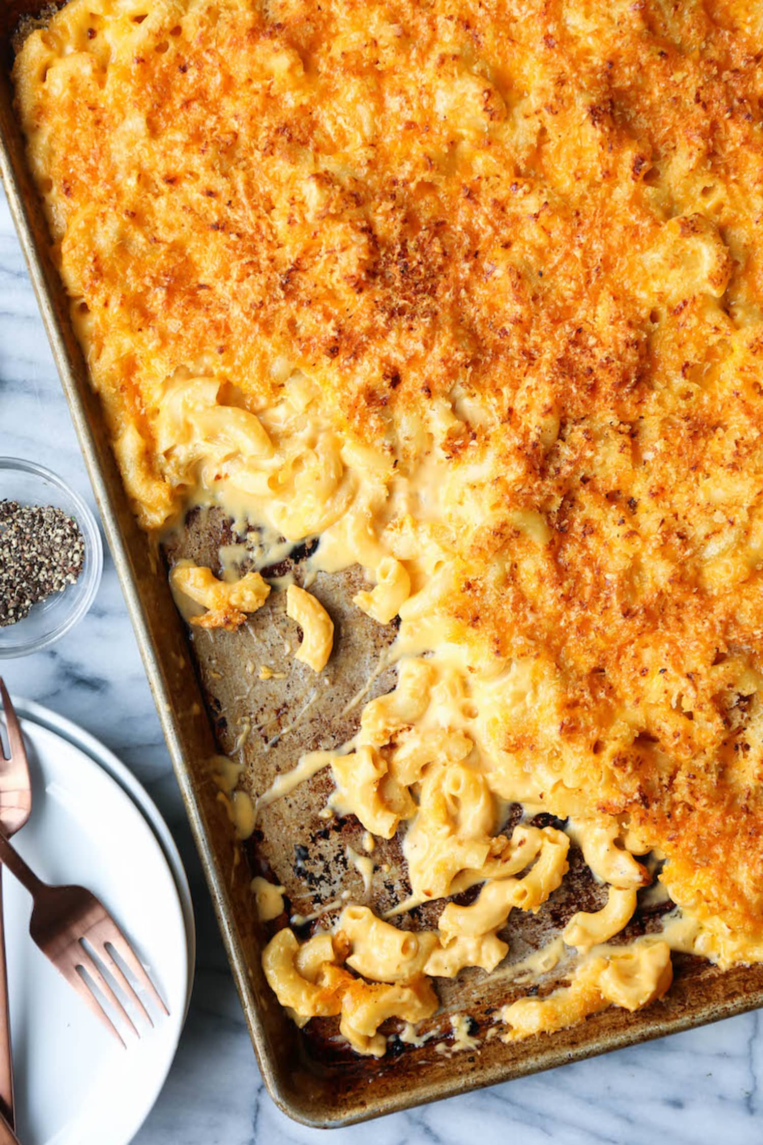 Sheet Pan Macaroni and Cheese Gives You Crispy, Cheesy Topping in Every Bite