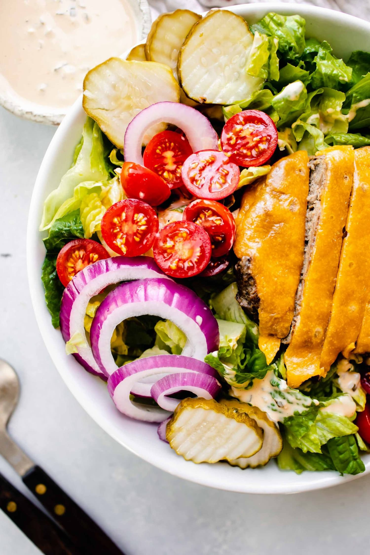 Cheeseburger Salad with Special Sauce Dressing Is a Low-Carb Version of a Drive-Thru Treat