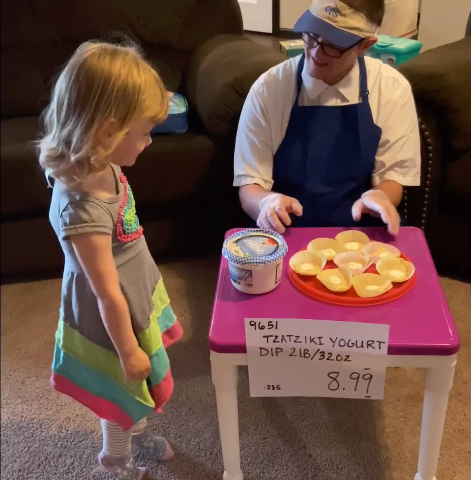 These Sweet Parents Made a Make-Believe Costco Sample Station for Their Daughter