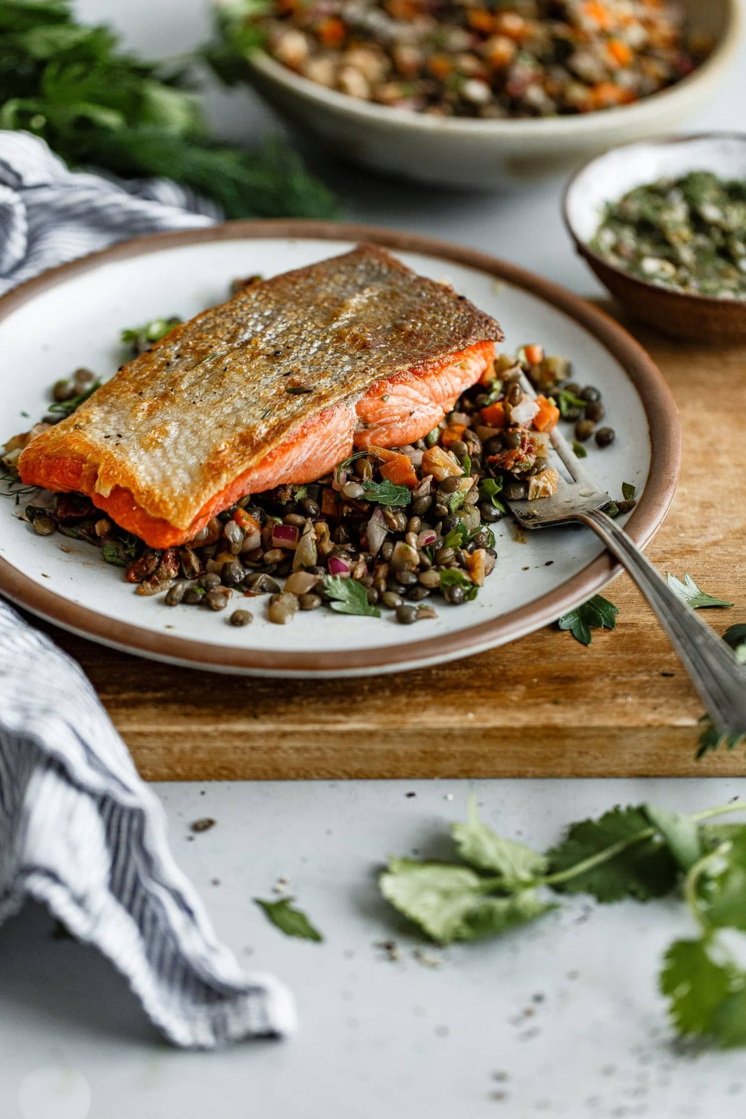This Salmon and French Lentil Salad Is All About the Caper-Herb Vinaigrette