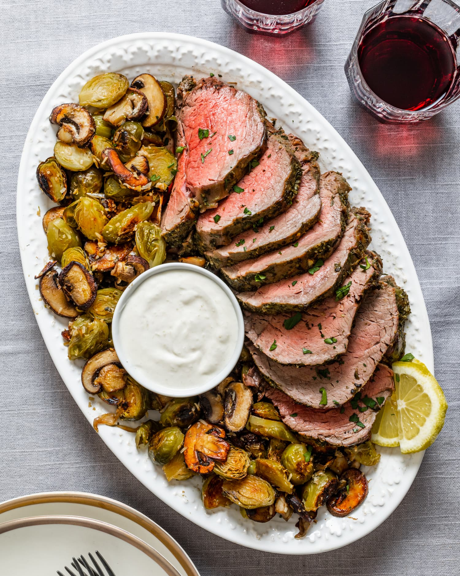 Beef Tenderloin with Mushrooms and Brussels: A Holiday-Worthy Sheet Pan Dinner