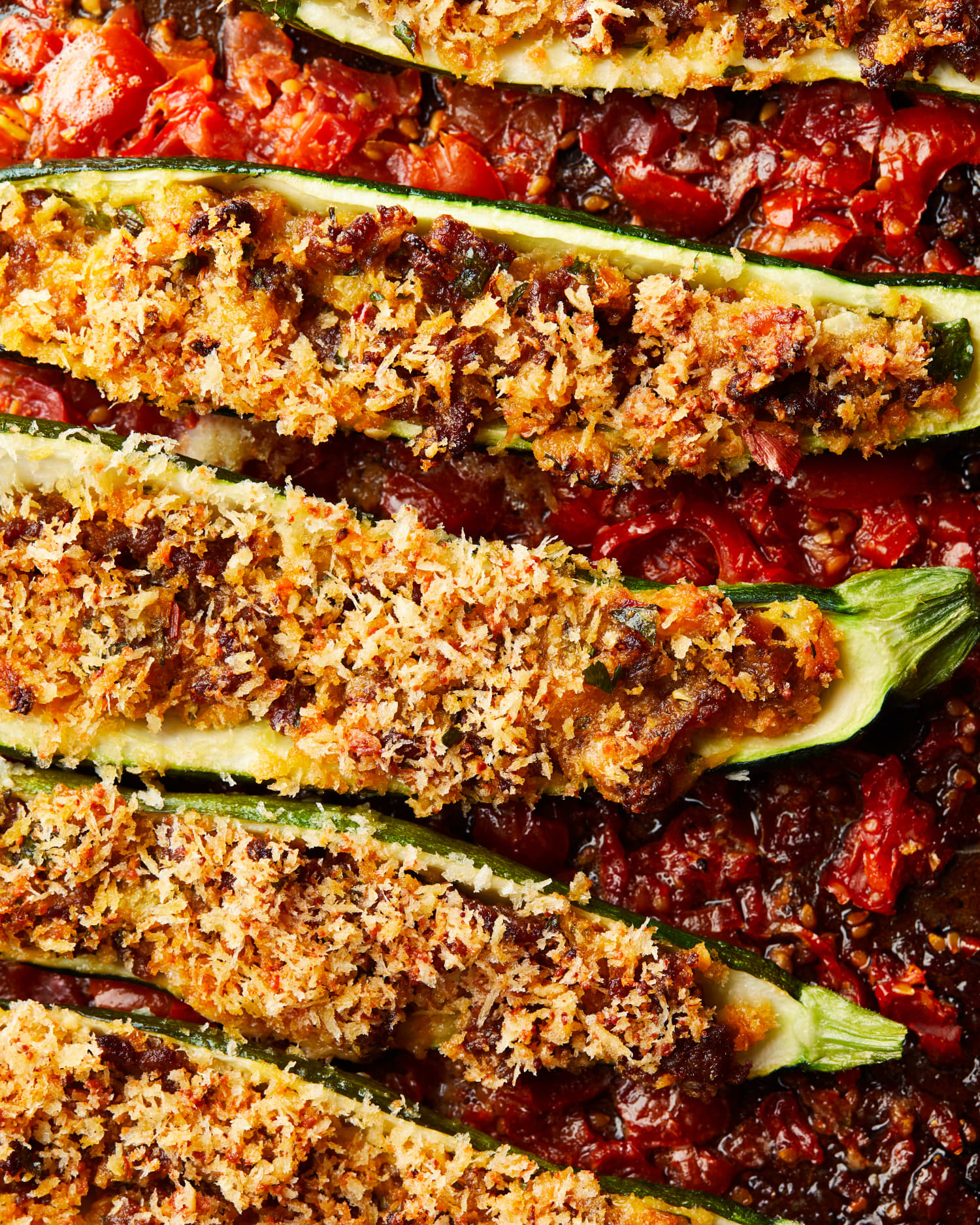 Sausage-Stuffed Zucchini Boats Are a Crispy, Saucy Summer Delight