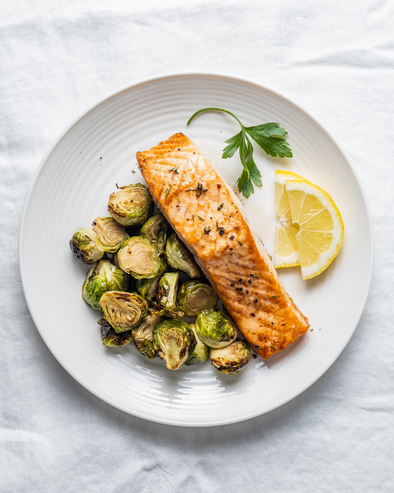Air Fryer Salmon and Brussels Sprouts Cooks In Just 10 Minutes