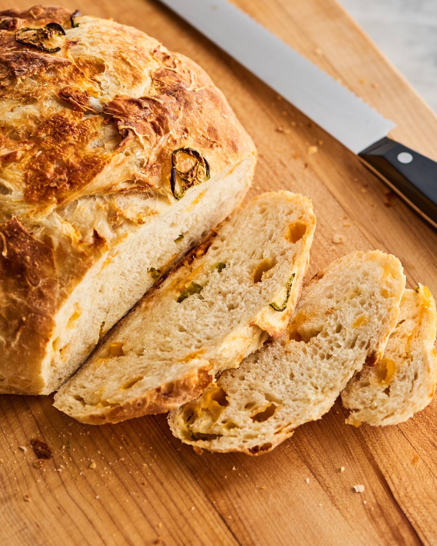 Anyone Can Make This Cheesy Jalapeño No-Knead Bread