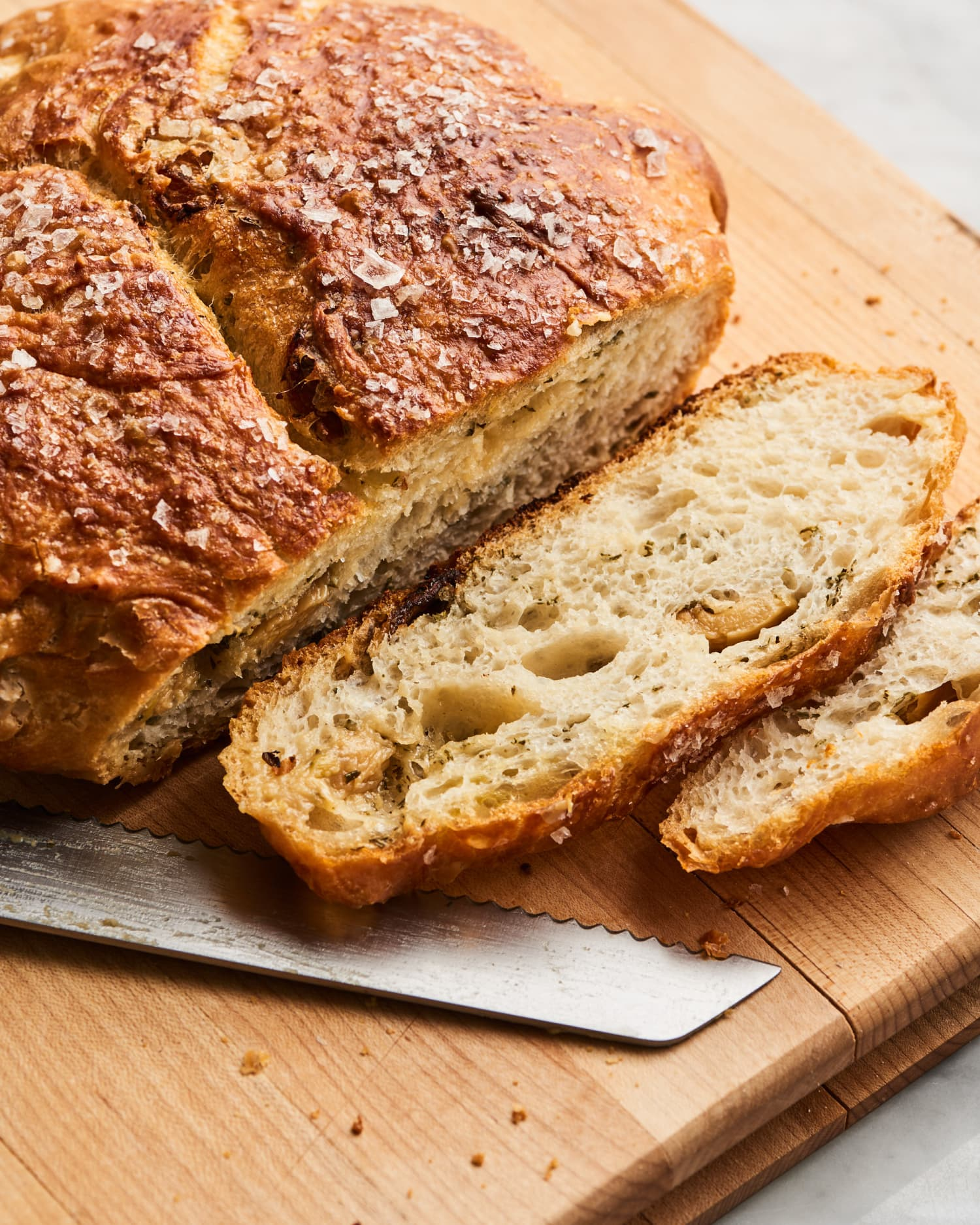 Garlic Bread's Got Nothing on This Roasted Garlic and Herb No-Knead Bread