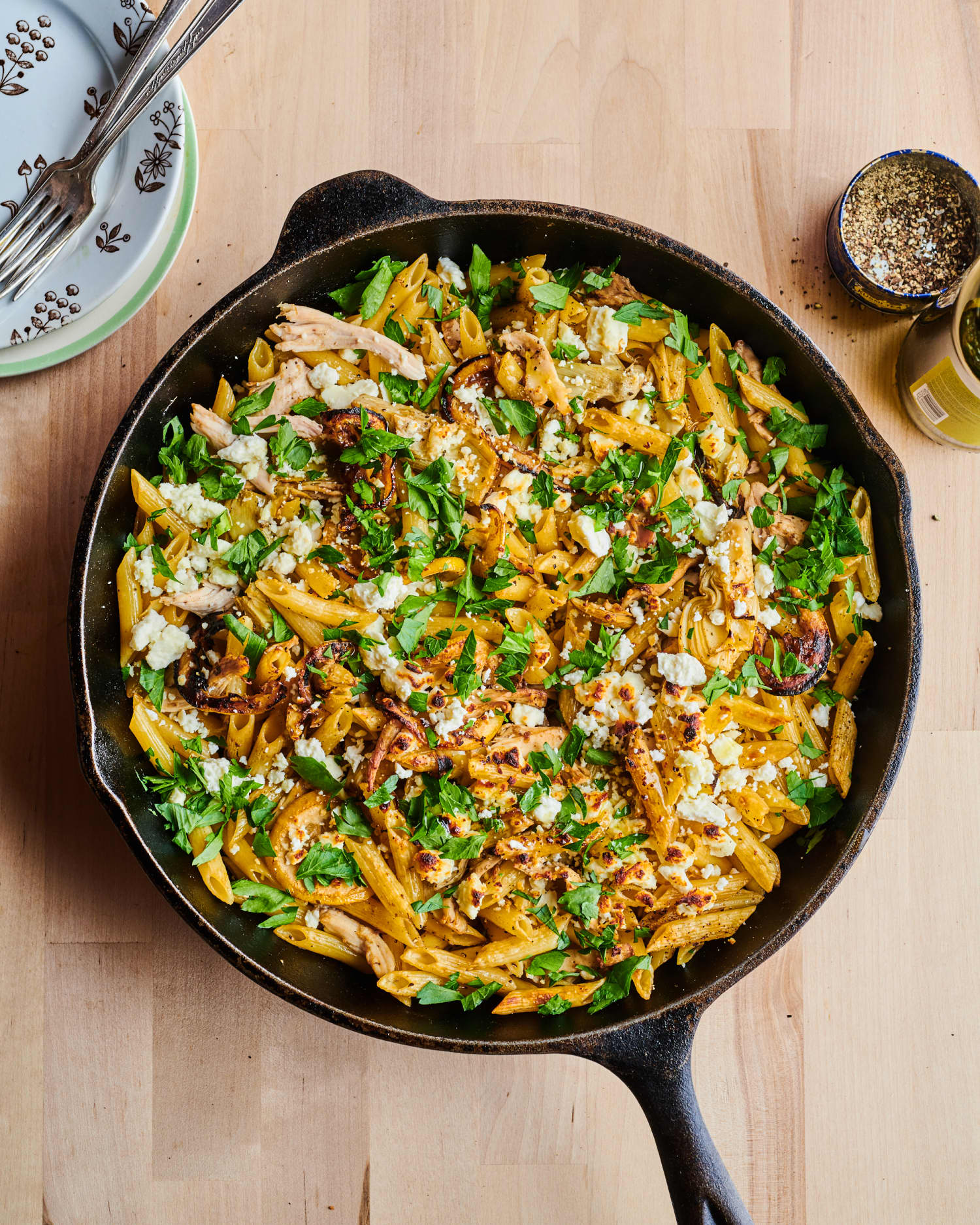 This Baked Skillet Chicken Pasta Is Packed with Fresh Lemon Flavor