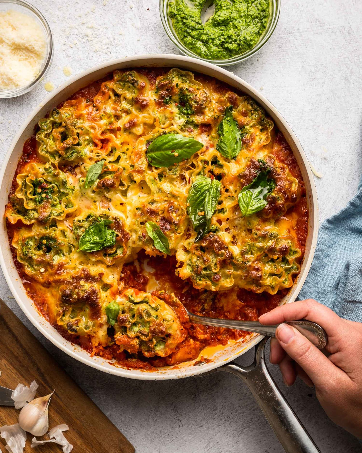 These Skillet Lasagna Roll-Ups Are Crispy, Cheesy, and Packed with Greens