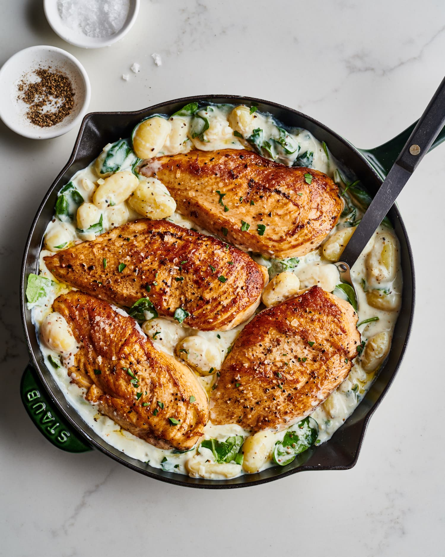 You Don't Actually Need Cream to Make This Creamy Chicken and Gnocchi Skillet