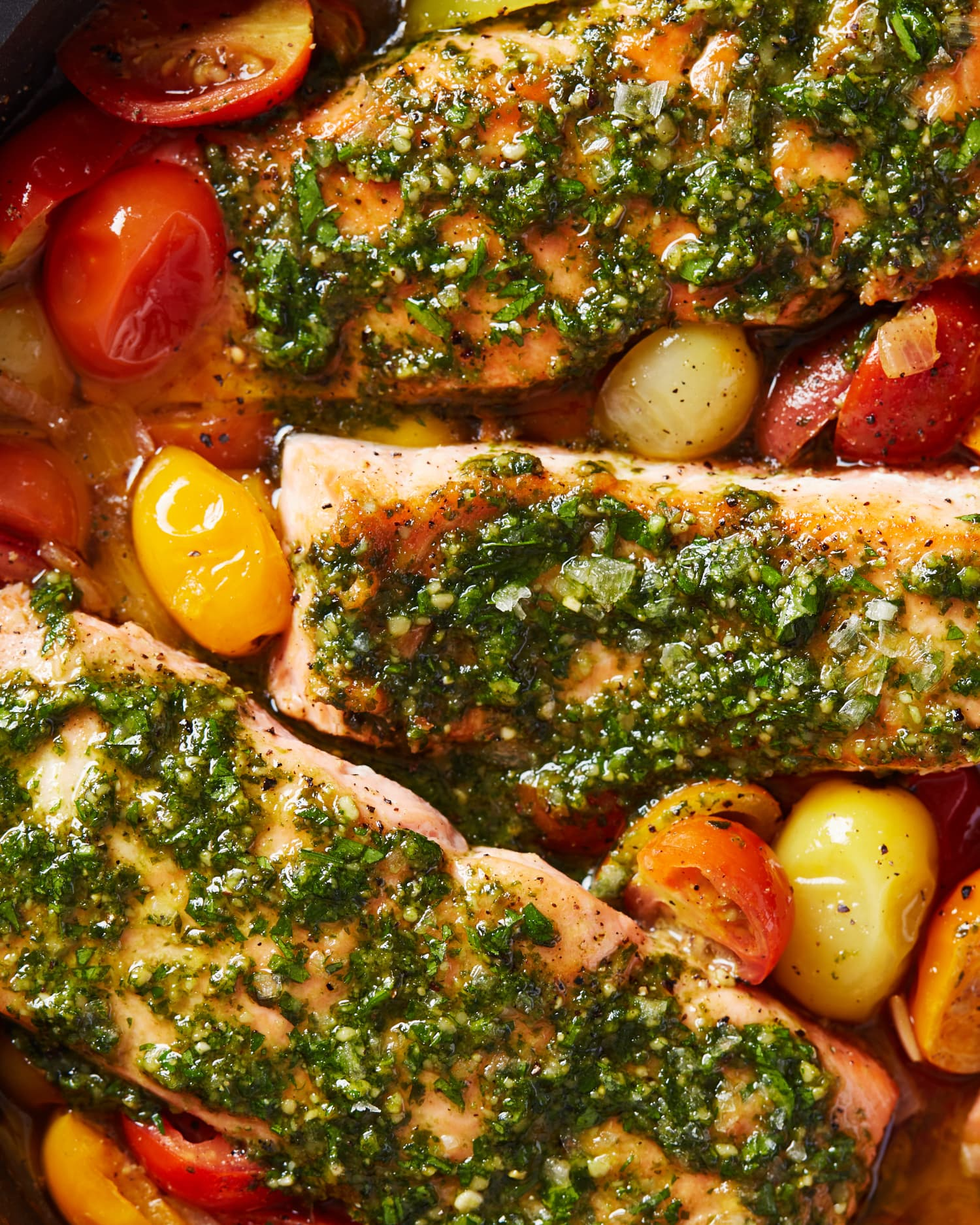 Pesto Salmon with Burst Tomatoes Proves Simple Can Be Delicious