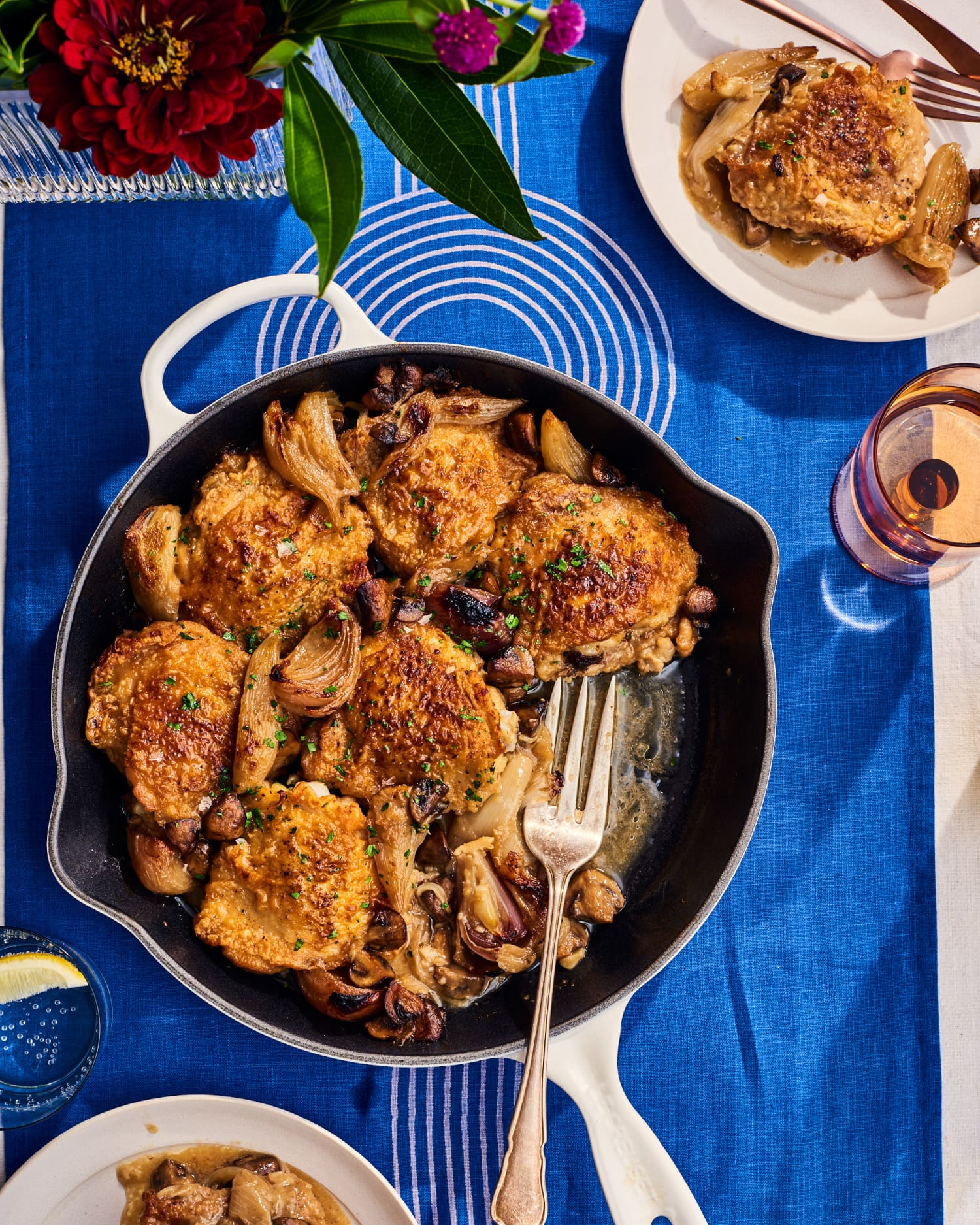 Mustard and Wine-Braised Chicken Thighs Are a Dinner Party Showstopper
