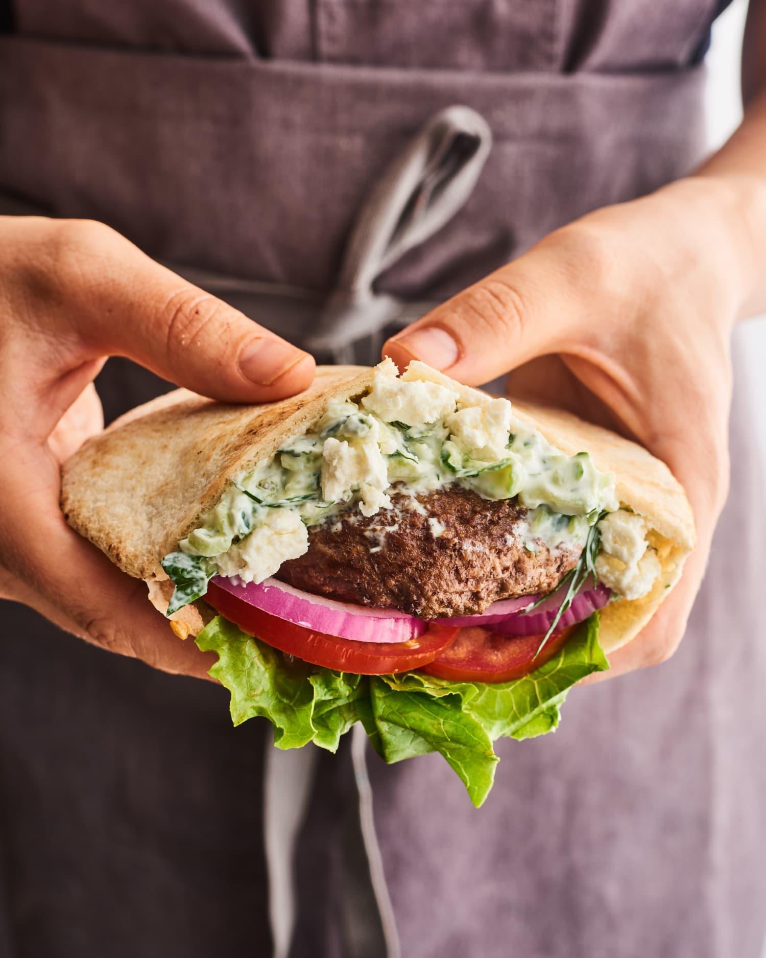Greek-Style Lamb Burgers with Creamy Tzatziki Sauce