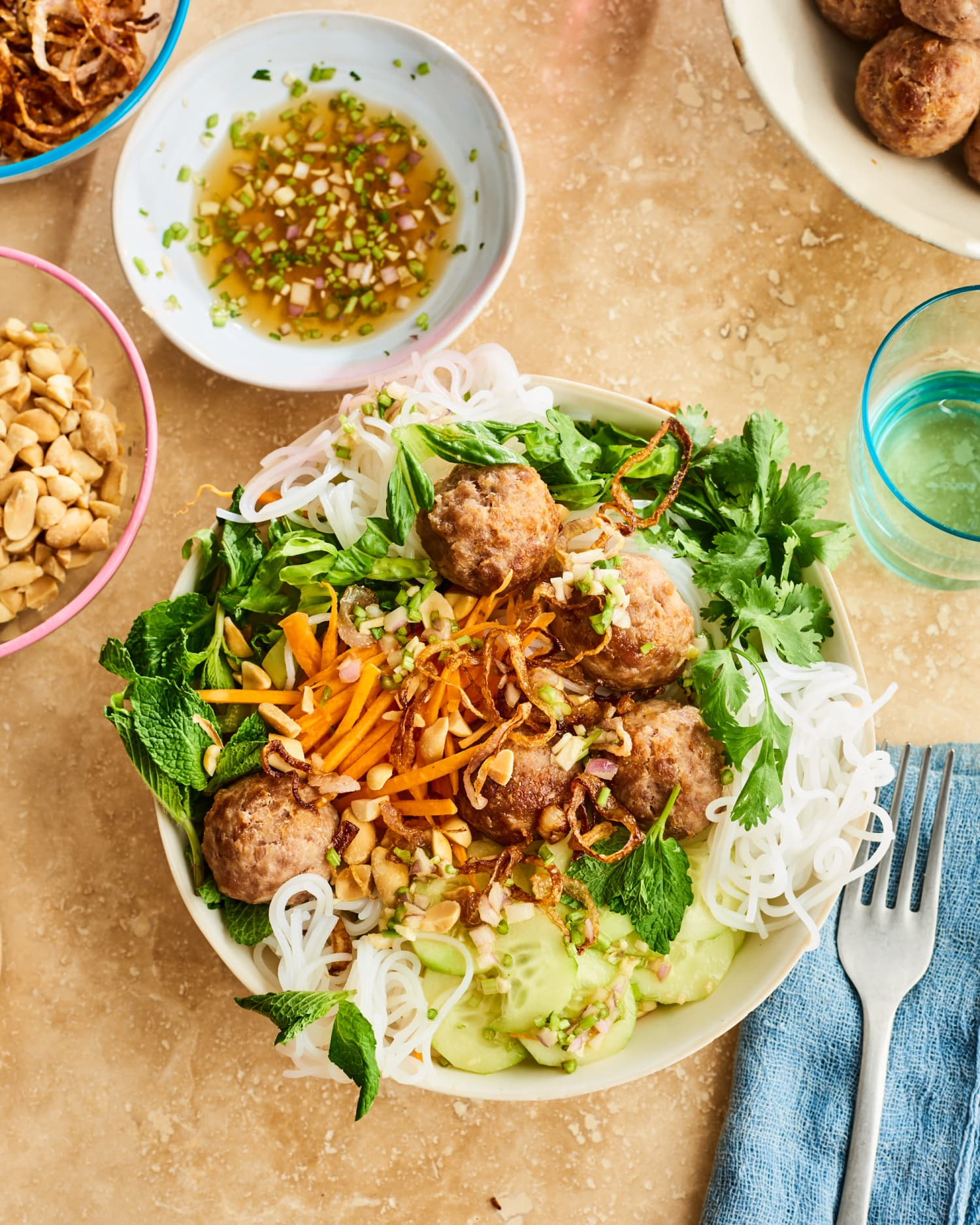 This Crispy, Crunchy Noodle Bowl with Meatballs Is Supremely Refreshing