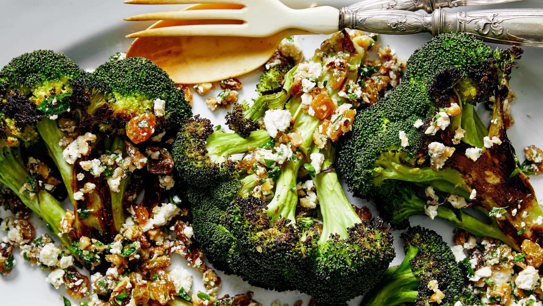 Broccoli Steaks with Walnut-Raisin Salsa