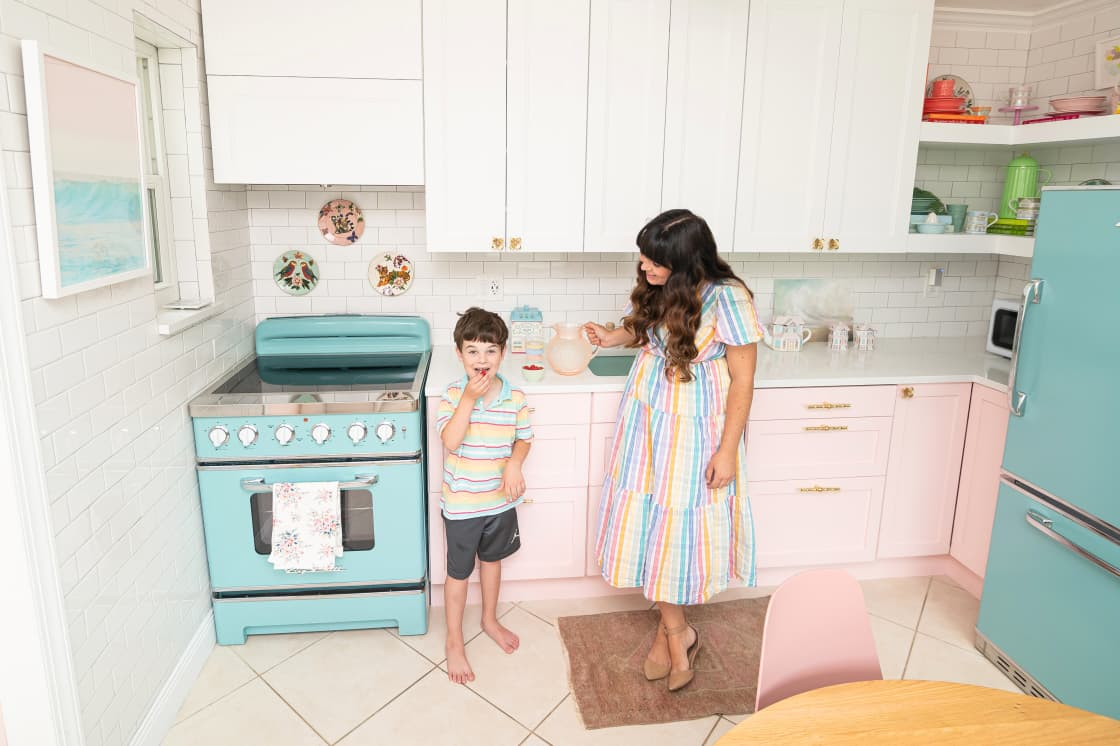 This Family's Beach Bungalow Is A Real-Life Rainbow Dream with Tons of DIY Solutions