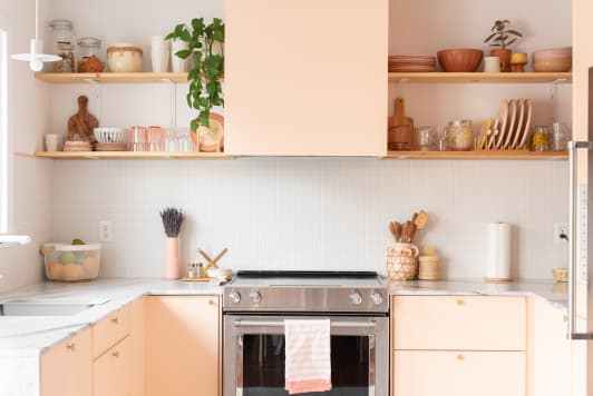 This Kitchen Went from Basic to Beautiful After this Family Gave It a Pink Makeover