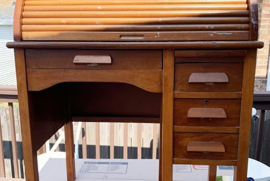 Before & After: A Child's Vintage Roll-Top Desk Gets a Playful Makeover for Under $40