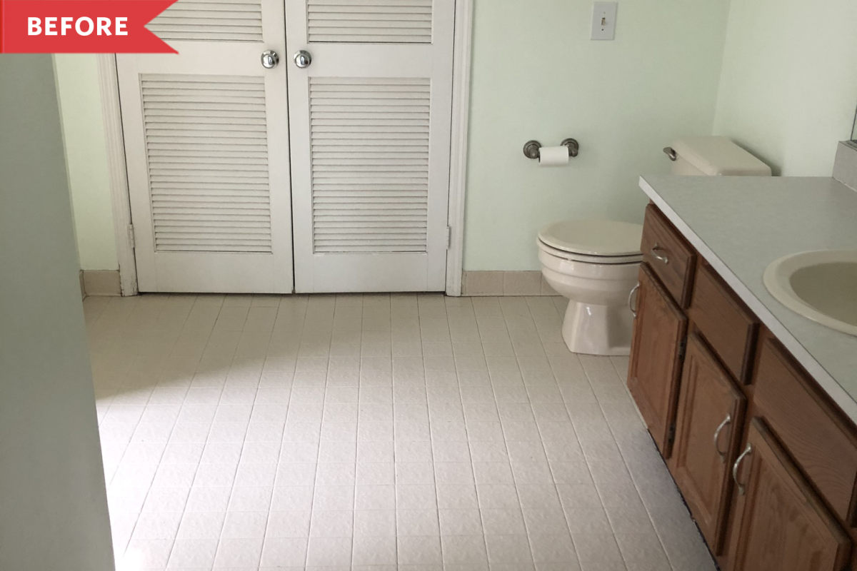 Before and After: A Dingy 1980s Bathroom Gets a Luxe-Looking Transformation